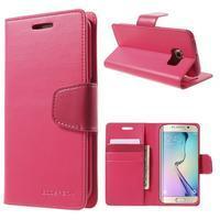Wallet PU kožené puzdro pre Samsung Galaxy S6 Edge G925 -  rose - 1/7
