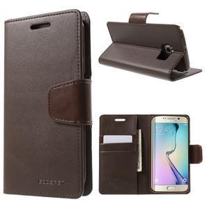 Wallet PU kožené puzdro pre Samsung Galaxy S6 Edge G925 -  tmavohnedé - 1