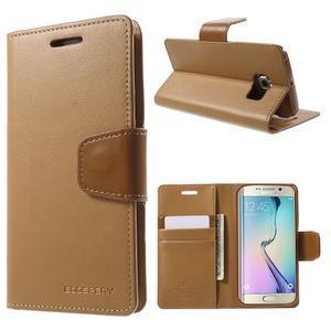 Wallet PU kožené puzdro na Samsung Galaxy S6 Edge G925 -  hnedé - 1