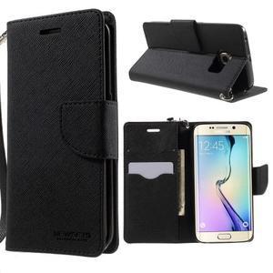 Diary PU kožené puzdro na Samsung Galaxy S6 Edge - čierne - 1