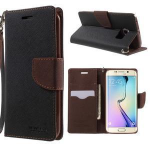Diary PU kožené puzdro pre Samsung Galaxy S6 Edge - čierne/hnede - 1