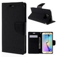 Luxury textilné / koženkové puzdro pre Samsung Galaxy S6 Edge - čierne - 1/7