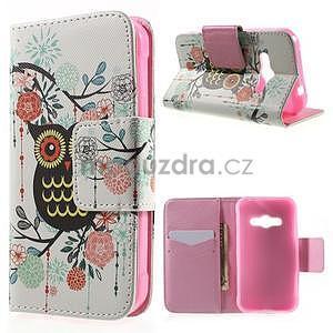 Vzorové peňaženkové puzdro na Samsung Galaxy Xcover 3 - sova - 1