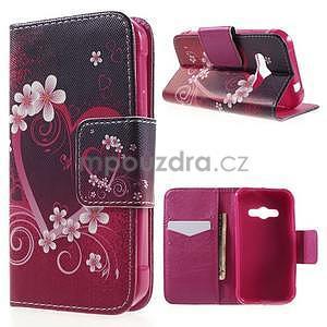 Vzorové peňaženkové puzdro na Samsung Galaxy Xcover 3 - srdce - 1
