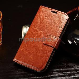 Koženkové peňaženkové puzdro pre Samsung Galaxy Xcover 3 - hnedé - 1