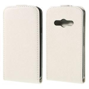Flipové koženkové puzdro na Samsung Galaxy Xcover 3 - biele - 1