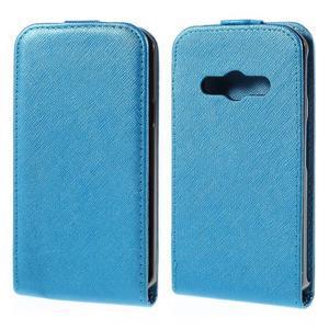 Flipové koženkové puzdro na Samsung Galaxy Xcover 3 - modré - 1