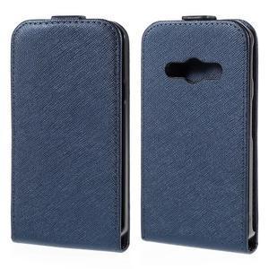 Flipové koženkové puzdro pre Samsung Galaxy Xcover 3 - tmavomodré - 1