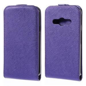 Flipové koženkové puzdro pre Samsung Galaxy Xcover 3 - fialové - 1