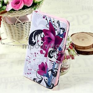 Štýlové peňaženkové puzdro pre Samsung Galaxy Xcover 3 - fialové kvety - 1