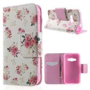 Vzorové peňaženkové puzdro na Samsung Galaxy Xcover 3 - kvety - 1