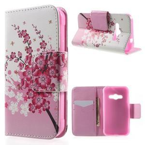 Vzorové peňaženkové puzdro na Samsung Galaxy Xcover 3 - kvitnúca vetvička - 1