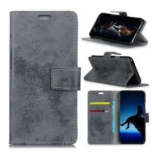 Retro PU kožené peňaženkové puzdro na mobil Nokia 2.1 - sivé - 1