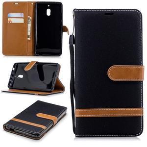 Jeans PU kožené/textilné puzdro na mobil Nokia 2.1 - čierne - 1