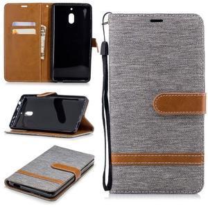 Jeans PU kožené/textilné puzdro na mobil Nokia 2.1 - sivé - 1
