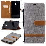 Jeans PU kožené/textilné puzdro na mobil Nokia 2.1 - sivé - 1/3