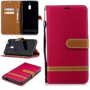Jeans PU kožené/textilné puzdro na mobil Nokia 2.1 - červené - 1