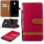 Jeans PU kožené/textilné puzdro na mobil Nokia 2.1 - červené - 1/3