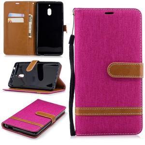 Jeans PU kožené/textilné puzdro na mobil Nokia 2.1 - rose - 1