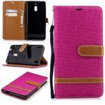 Jeans PU kožené/textilné puzdro na mobil Nokia 2.1 - rose - 1/3