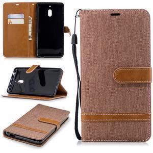 Jeans PU kožené/textilné puzdro na mobil Nokia 2.1 - khaki - 1