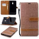Jeans PU kožené/textilné puzdro na mobil Nokia 2.1 - khaki - 1/3