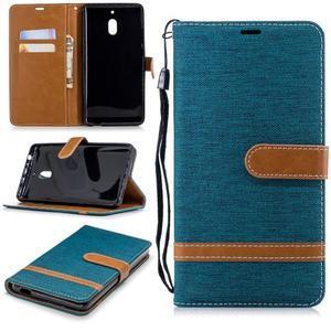 Jeans PU kožené/textilné puzdro na mobil Nokia 2.1 - zelené - 1