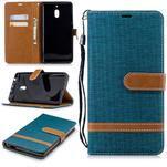 Jeans PU kožené/textilné puzdro na mobil Nokia 2.1 - zelené - 1/3