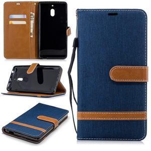 Jeans PU kožené/textilné puzdro na mobil Nokia 2.1 - tmavomodré - 1
