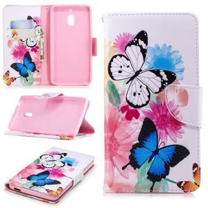 Print PU kožené flipové puzdro na mobil Nokia 2.1 - motýlkovia a kvety - 1