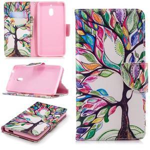 Print PU kožené flipové puzdro na mobil Nokia 2.1 - malovaný strom - 1
