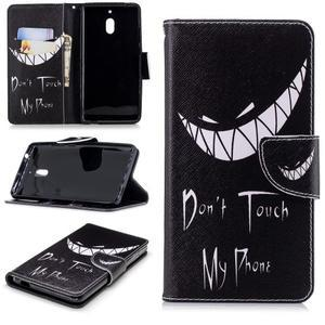 Print PU kožené flipové puzdro na mobil Nokia 2.1 - nesiahať - 1