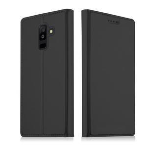 Cardy PU kožené puzdro na Samsung Galaxy A6+ (2018) - čierne - 1