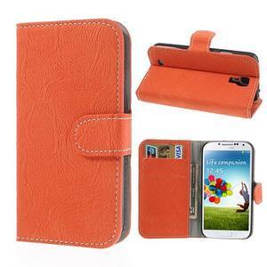 PU kožené peňaženkové puzdro pre Samsung Galaxy S4 - oranžové - 1