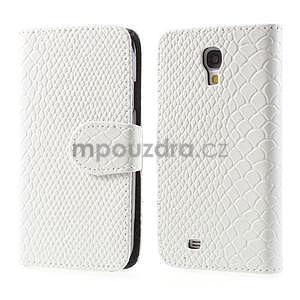 PU kožené peňaženkové puzdro s hadím motívom pre Samsung Galaxy S4 - biele - 1
