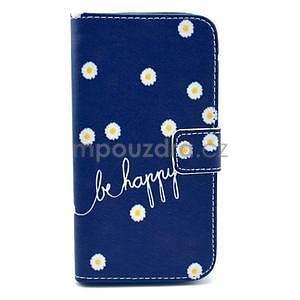 Peňaženkové puzdro pre Samsung Galaxy S4 - kvietky be happy - 1