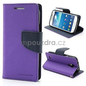 PU kožené peňaženkové puzdro pre Samsung Galaxy S4 mini - fialové - 1