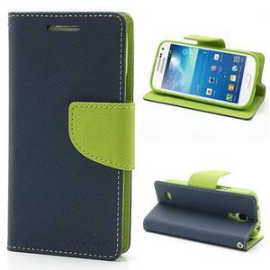 PU kožené peňaženkové puzdro pre Samsung Galaxy S4 mini - tmavo modré - 1