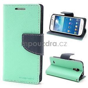 PU kožené peňaženkové puzdro pre Samsung Galaxy S4 mini - cyan - 1