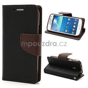 PU kožené peňaženkové puzdro pre Samsung Galaxy S4 mini - hnedé/čierne - 1