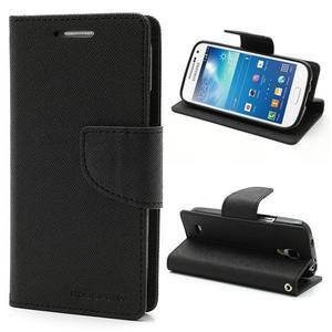 PU kožené peňaženkové puzdro pre Samsung Galaxy S4 mini - čierne - 1
