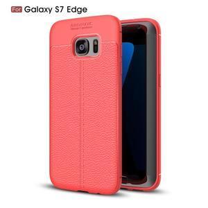 Litch odolný gélový obal s textúrou na Samsung Galaxy S7 Edge - červený - 1