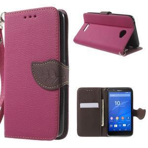 PU kožené lístkové puzdro pre Sony Xperia E4 - rose - 1