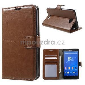 PU kožené peňaženkové puzdro pre mobil Sony Xperia E4 - hnedé - 1