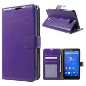PU kožené peňaženkové puzdro pre mobil Sony Xperia E4 - fialové - 1
