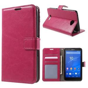 PU kožené pěněženkové pouzdro na mobil Sony Xperia E4 - rose - 1