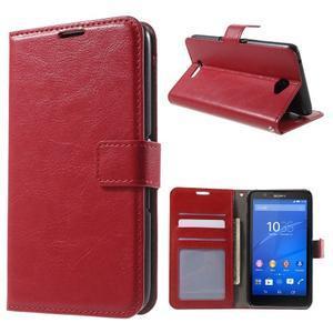 PU kožené peňaženkové puzdro pre mobil Sony Xperia E4 - červené - 1