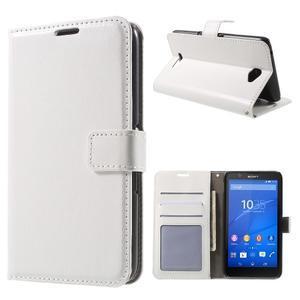 PU kožené peňaženkové puzdro pre mobil Sony Xperia E4 - biele - 1