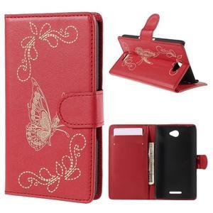 Peněženkové pouzdro s motýlkem na Sony Xperia E4 - červené - 1