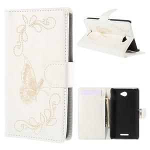 Peňaženkové puzdro s motýľkem na Sony Xperia E4 - biele - 1